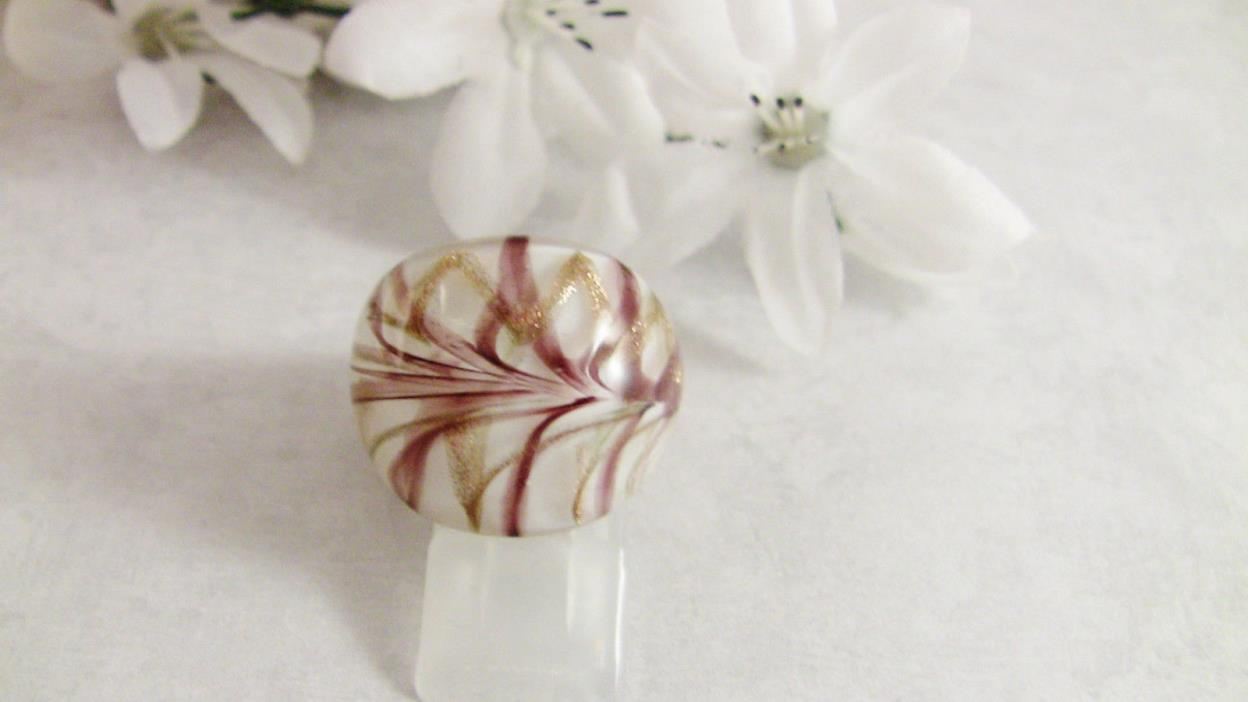Women's Ring Size 8.25 Murano Glass White w Copper Swirls 7/8