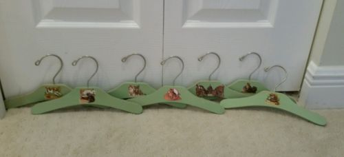 Set of 7 Green Wooden DECOUPAGED Baby Nursery HANGERS Vintage PUPPIES KITTENS