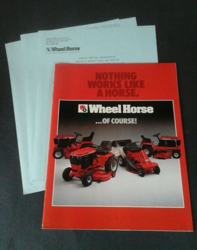 Vintage Wheel Horse garden tractor brochure & specs, federal supply price list