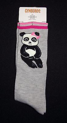 NEW Gymboree sz 5-7 PANDA ACADEMY Knee Socks fits shoe 11-13 Gray & Pink