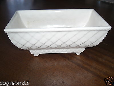 WHITE U.S.A Vintage planter BEAUTIFUL Textured Antique Pottery