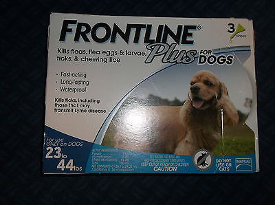 Frontline Plus, 23-44 lb (Medium) dog, 3-doses, USA, NIB, Free Shipping