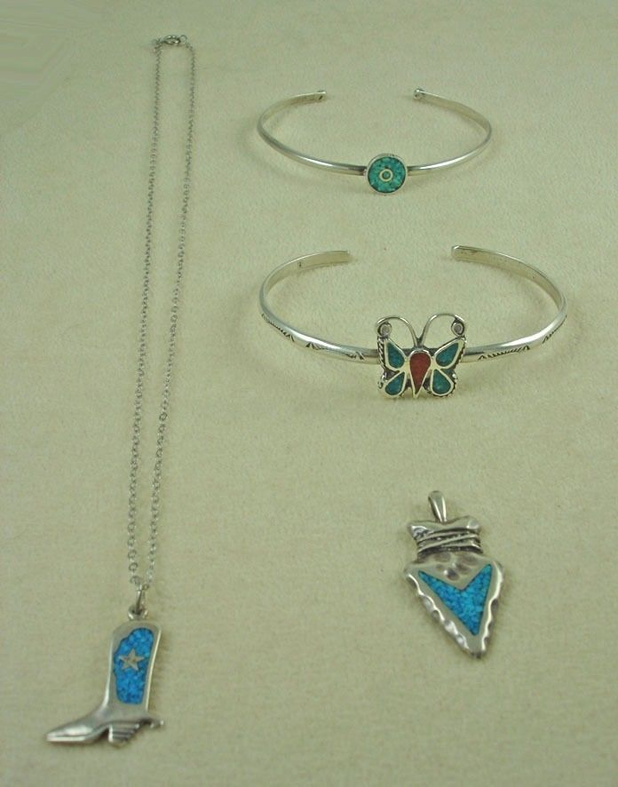 Lot of Sterling Silver Crushed Turquoise Southwestern Jewelry Items Bracelets