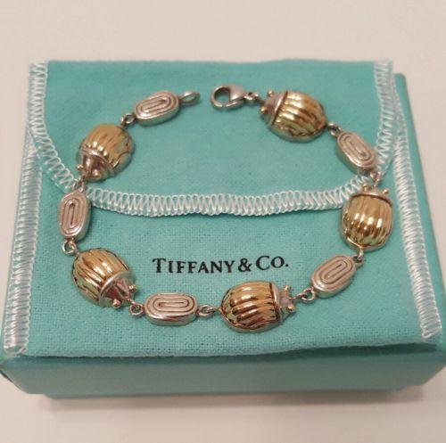 Rare Tiffany & Co 18k Gold & Sterling Silver Scarab Beetle Link Bracelet