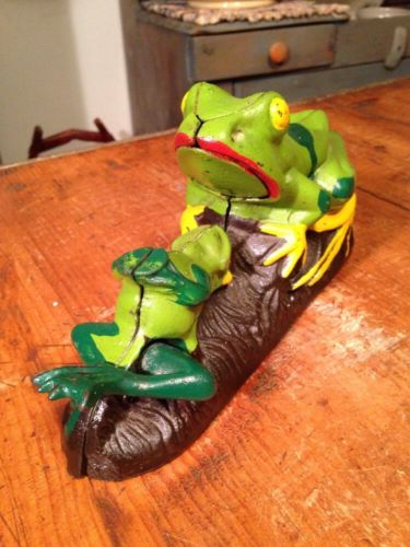Vintage Taiwan Two Frogs Mechanical Bank