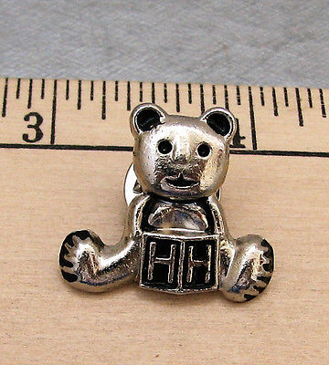 Vintage HH silver color TEDDY BEAR TIE TACK, LAPEL  PIN, HAT or SCARF PIN