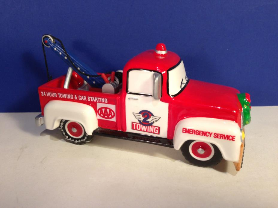 Dept 56 Snow VILLAGE SERVICE VEHICLE AAA TOW TRUCK w/ box Combine Shipping!