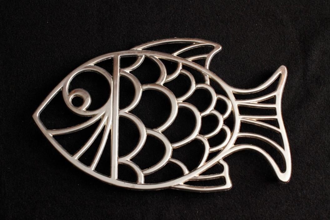 Vintage Leonard Metal Silver Plate Fish Trivet