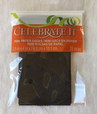 25 Celebrate it Black Mini Paper Sacks Gift Card Bag 2.5x4 in / 6.3x10.1 cm New