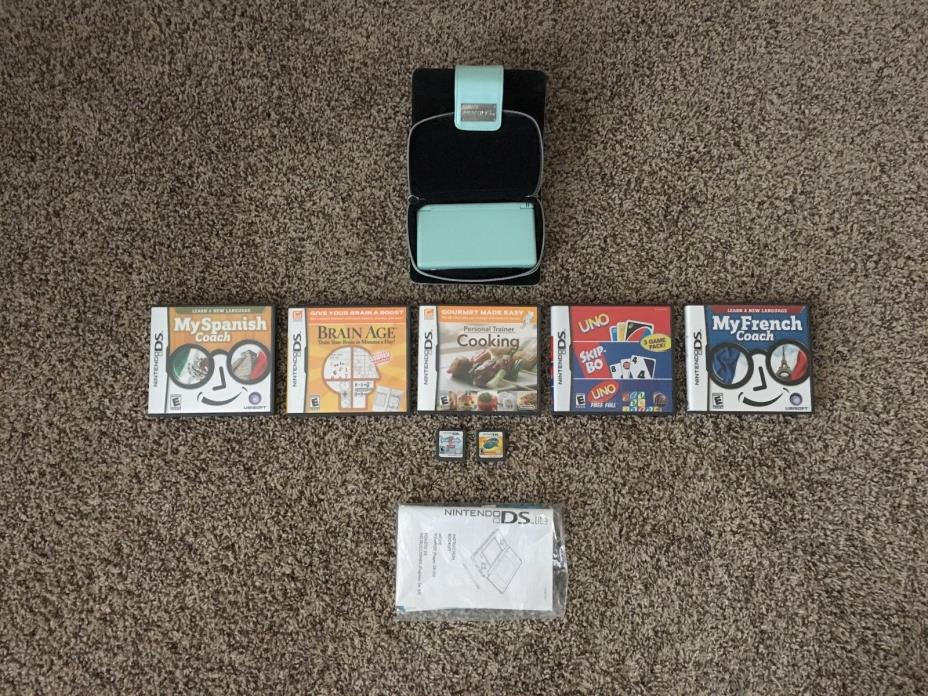 Nintendo DS Lite Ice Blue Console System 7 Game Lot Bundle Brain Age Pokemon