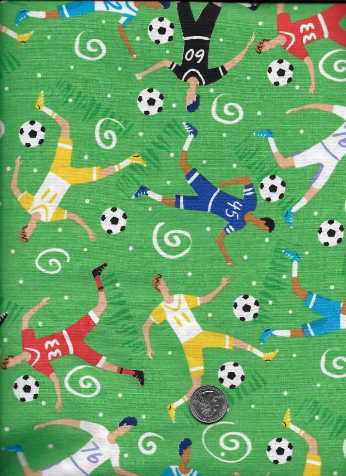 Men's Soccer Team Cotton Fabric On Green 1 Yard Quilt Craft Sew!