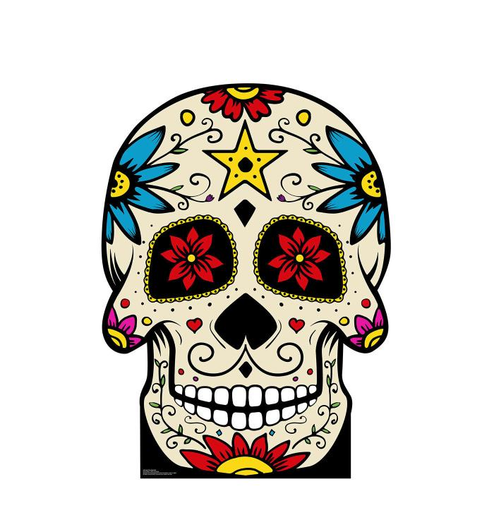 DAY OF THE DEAD SKULL - LIFE SIZE STANDUP/CUTOUT - SUGAR SKULL 2391