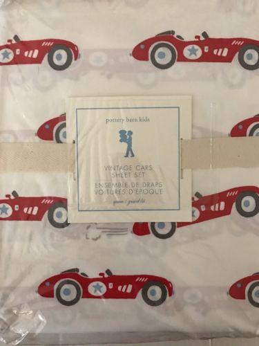 POTTERY BARN  KIDS ~ VINTAGE CARS QUEEN SHEET SET ~ ORGANIC BEDDING