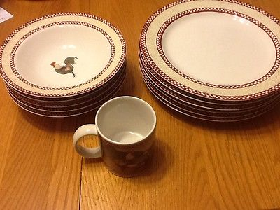 Noble Excellence Chicken Scratch 12 pc. 6 dinner plates 5 bowls 1 mug