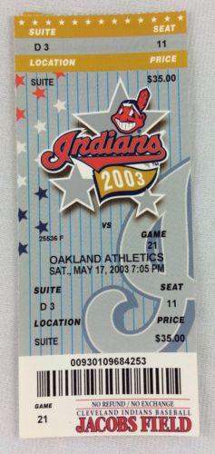 MLB 2003 05/17 Oakland Athletics at Cleveland Indians Ticket-Erubiel Durazo HR