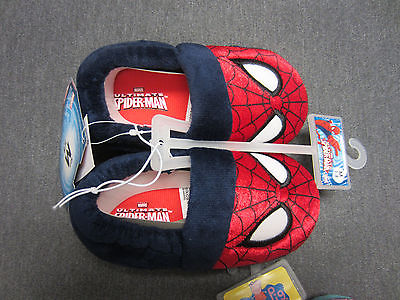 New With Tag Marvel Spiderman 3 Baby Toddlers Slippers Size M (7/8) Soft Slip On