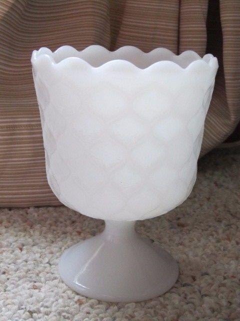 VTG Honeycomb White Milk Glass Goblet Compote E.O Brody MJ -42 Cleveland Ohio