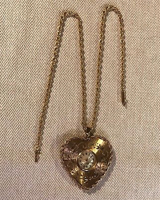 1960'S  LUVA - SWISS  LARGE EXQUISITLY ENGRAVED 14K HEART PENDANT WATCH & CHAIN