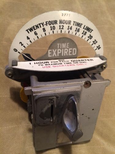 #1 Vintage Duncan Parking Meter Clock Part TESTED 24 Hour Steampunk NY Clear