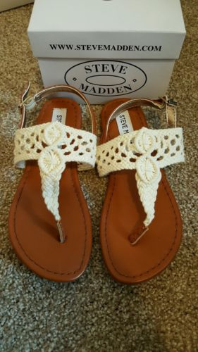 steve madden girl's size 1 crochet white sandals