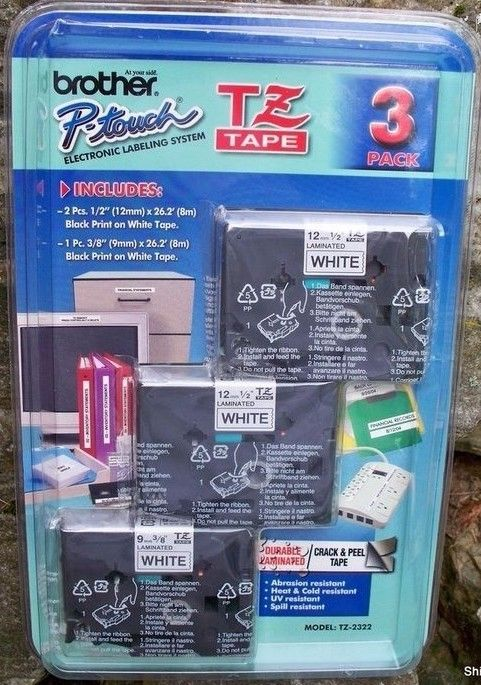 Brother P-Touch TZ Tape TZ-2322 (3) Pack White Tape (2) 1/2