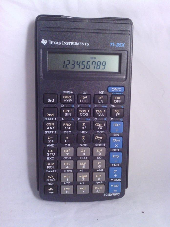Texas Instruments TI-35X Pocket Calculator with cover. w/ Batteries. scientific