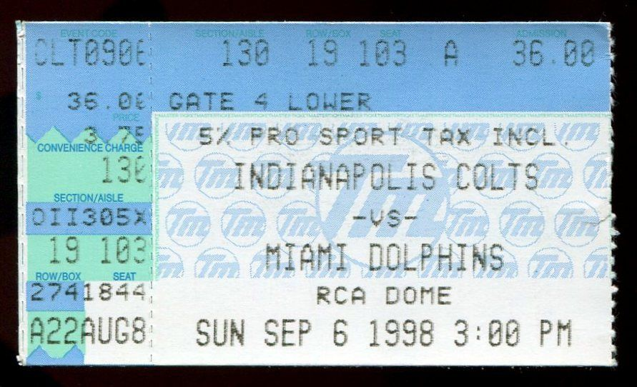 1998 Indianapolis Colts Dolphins 9/6 Ticket Peyton Manning Debut 1st Start & TD