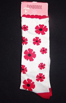NEW Gymboree 3-4 Poppy Love Knee High Socks fits shoe size 9 10 3T-4T RED WHITE