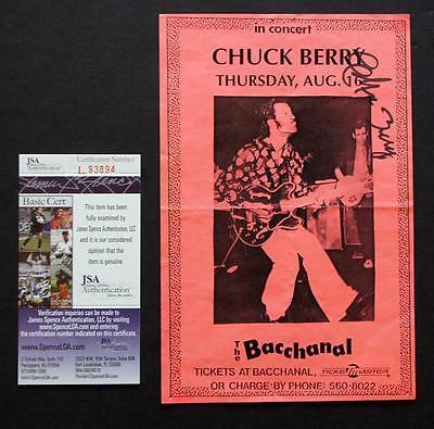 CHUCK BERRY SIGNED JSA COA, Vintage Concert Flyer, Maybellene, Johnny B. Goode!