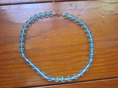 Aqua Colored Glass Beaded Necklace