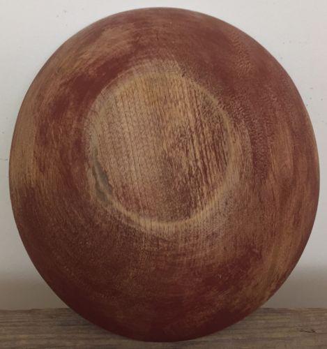 Antique Maine Farm Wood Turned Bowl Original Red Paint 8.75