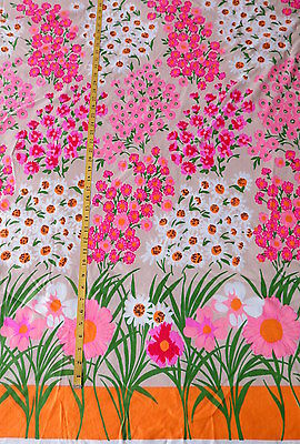 Vintage border print fabric 4 yards flower power hippie print polyester knit