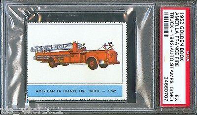 1952 Golden Book Automobile Stamps 1942 AMERICAN LA FRANCE FIRE TRUCK PSA 5 mc