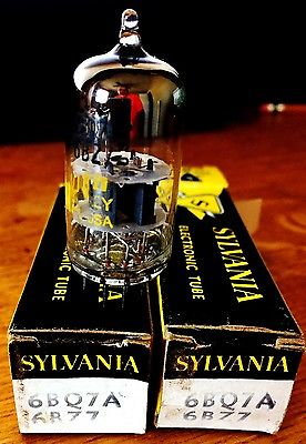 2X SYLVANIA 6BQ7A= 6BS8 / 6BZ7 Black Plate O Get Vacuum Tube double triode