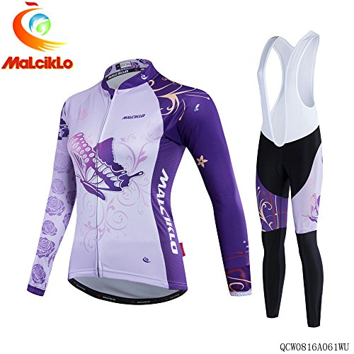 MALCIKLO Women's Cycling Winter Thermal Fleece Jersey Mountain maillot Set