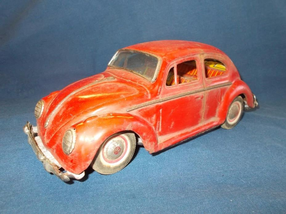 Vintage Tin Friction Toy VW Car 9.5