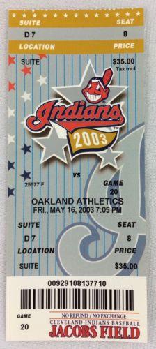 MLB 2003 05/16 Oakland Athletics at Cleveland Indians Ticket-Miguel Tejada HR