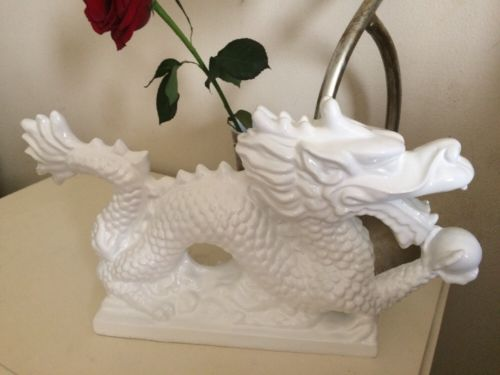 Chinese White Dragon Glossy Statue Fabulous