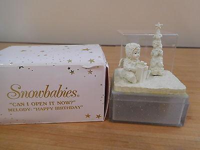16) Dept 56 Snowbabies - Can I Open It Now? - Miniature Music Box - MIB