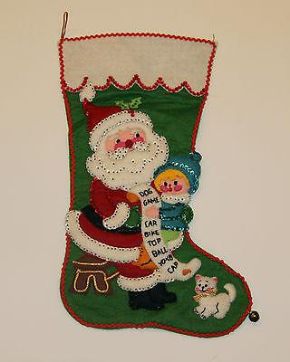 Vintage-Complete-Kit-Stocking-Santa-Kitten-Cat-Child-Hand-made-Sequin-Felt-Xmas