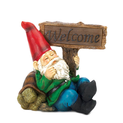 Welcome Garden Gnome Statue Solar Light Figure Yard Lawn Patio Outdoor Turtle