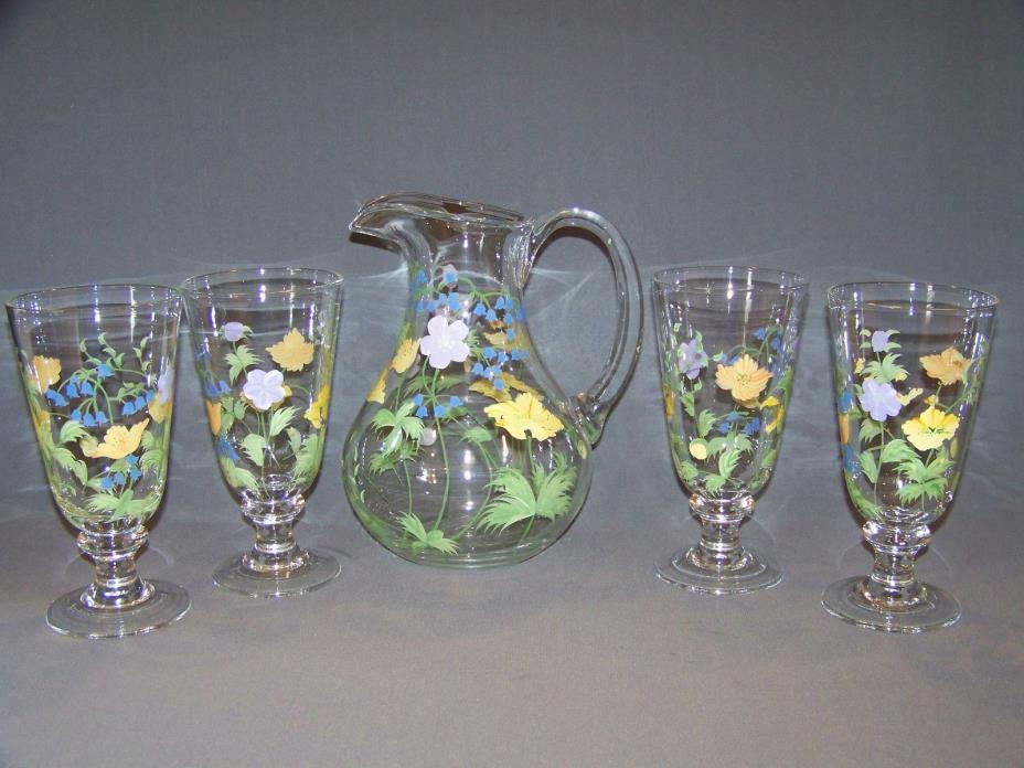 Oneida hand painted water ice tea set
