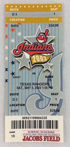 MLB 2003 05/03 Texas Rangers at Cleveland Indians Ticket-Jay Powell WP