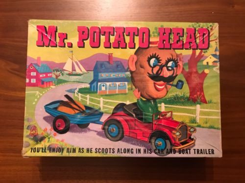 Vintage 1950's Mr Potato Head w/Box, Car, Boat & Accessories Hassenfeld bros