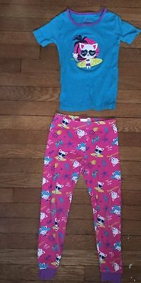 Children's Place pink surf cat pajama short sleeve set pj jammies size 6x - 7