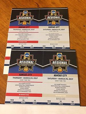 2 FULL STRIP NCAA MIDWEST REGIONAL MENS BASKETBALL TICKETS MARCH 23 & 25 - KC