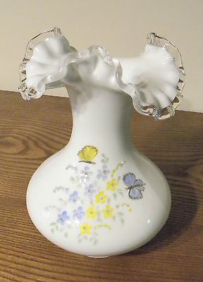 Vintage Artist Signed FENTON Flower Vase Hand Painted with Flowers & Ruffled Top