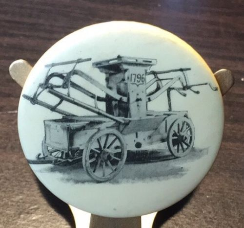 Early Antique Farm Wagon Pinback Button 1 3/4