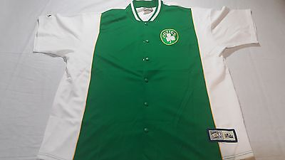 Mens White & Green Hardwood Classics Majestic Boston Celtics Button up Jersey 2X