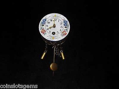 Vintage LINDEN German Enameled Hanging Clock Floral Border Design Works w/key